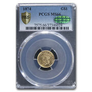 1874 1 Indian Head Gold Ms-66 Pcgs Cac - Sku169797