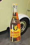 1940s Dr.swetts Root Beer Tin Die Cut Bottle Sign Early American Root Beer