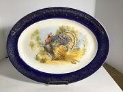 Vtg Early 1900and039s Shawano Wis. Thanksgiving Platter Flow Blue Rim Gold Accent