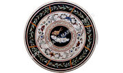 Black Marble Dining Round Table Top Scagliola Inlay Living Room Patio Decor E746