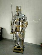 Medieval Costume Brassand Steel Suit Of Armour Wearable Crusader Combat Full Body