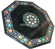 30 Inches Black Octagon Stone Table Top Marble Coffee Table With Vintage Art