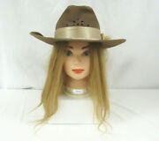 Vintage Nancy Hughes Hat Co Cowgirl Hat Brown With Plume Feather Size 7