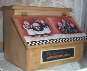 Fat Chef Waiters Bread Box Handcrafted Solid Pine Made In Usa Stained Goldenoak