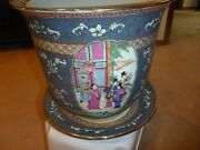 Vintage/antique Chinese Fish Bowl Jardiniere Flower Pot - People In A Palace