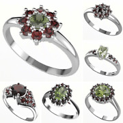 Silver Rings With Natural Czech Moldavites And Garnets 925 22k