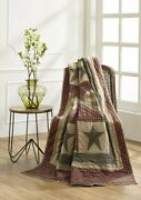 New Primitive Country Farmhouse Plymouth Quilted Patchwork Stars And Checks Throw
