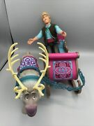 Disney Frozen Kristof Doll With Sleigh And Sven Set Excellent Con