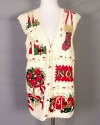 Vintage 90s Tiara Nos Nwt Deadstock Ugly Christmas Sweater Vest 1997 Pixelated L