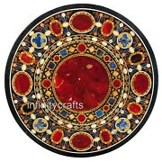 48 Inches Marble Inlay Dining Table Top Round Meeting Table With Unique Design