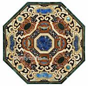 42 Inches Black Dining Table Top Marble Lawn Table Inlay With Cottage Craft