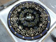 50 Inches Floral Pattern Inlaid Marble Conference Table Top Black Dining Table