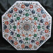36 X 36 Inches Octagon Meeting Table Top White Dining Table With Multi Gemstones