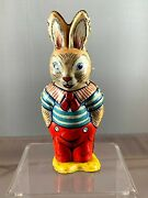 Vintage 1950s Chein 159 Wind-up Tin Toy Walking Easter Bunny Usa