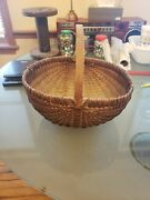 Large Antique Primitive Hand Woven Gathering Basket New England Old Repairs