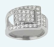14k White Gold 1.62ct Carat Diamond Fancy Belt Ring E Color Si1 Clarity Jewelry