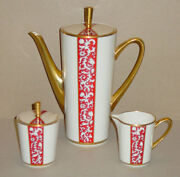 Rare Discontinued Lenox China Firesong Coffee Pot Cream And Covered Sugar Mint
