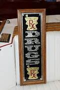 Vintage Rx Drugs Gold And Silver Reverse Glass Advertising Sign W. Wood Frame