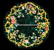 Green Marble Round Dining Table Top Floral Antique Inlay Occasional Decor H5309