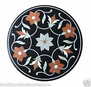 24 Black Marble Coffee Table Top With Gift Floral Inlay Marquetry Home Decor