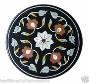 24x24 Black Marble Coffee Table Top Mosaic Marquetry Furniture Inlay Art Decor