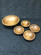 Vintage Collectible Genuine Woodcroftery 5 Pc. Wooden Footed Salad Bowl Set