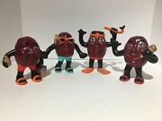 Set Of 4 Ceramic Figurines California Raisins Collectible Chips / Imperfections