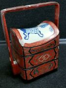 Antique Chinese Red Lacquer Blue Porcelain Lunch Box Wedding Basket