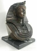 Unique Heavy Egyptian King Tut Bust Copper Wash Made In European Finery Figurine