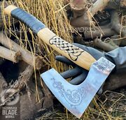 Hand Forged Viking Axe With Leather Wrap On Handle And Leather Sheath