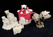 Vintage Polar Bear And Cubs Detailed Figurines Rare Coca Cola - Lot Of 5 -