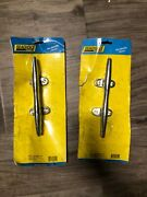 2pk Seachoice 8 Inch Chrome Plated Brass Hollow Base Cleats For Boats And Docks