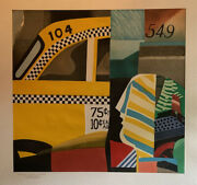 """Unframed Lithograph By Max Papart """"taxi America"""" Signed And Dedicated Edition"""
