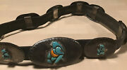 Vintage Small Bear Ponca Tribe Sterling Silver Turquoise Coral Conch Belt