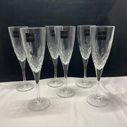 Royal Doulton Cut Crystal Earlswood Pattern Champagne Flutes Glasses Set 6 New