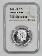 1965 Sms Kennedy Half Dollar 50c Ngc Ms 68 Mint State Unc - Cameo 015