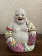 Vintage Chinese Porcelain Laughing Buddha Statue Figure
