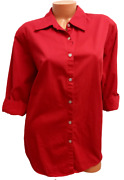 Mountain Lake Ii Red Button Down Womenand039s Plus 3/4 Sleeve Top 2x