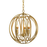 Modern 3 Candle Light Pendant Light Iron Orb Chain Chandelier For Kitchen Gold