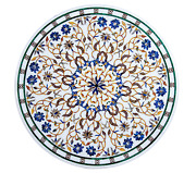 Marble Island Table Top Marquetry Art Round Dining Table Top Size 36 X 36 Inches