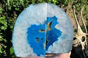 Agate Crystal Dyed Green Bookends Gold Coloured Druze Polished Brazilian 1.9kilo
