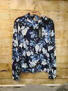 Karl Lagerfeld Suits Women's Size L Blue Floral Long Sleeve Blouse B