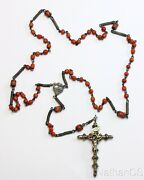 1830s Antique Sardinian Coral And Heavy Sterling Rosary W Magnificent Cross Unique