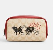 Coach Lunar New Year Small Boxy Cosmetic Case With Horse And Carriage/ Nwt