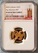 2020 Uk 007 Bond 1/4oz Gold Coin 2 Pay Attention Ngc Pf69 Ultra Cameo