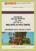 Matchbook Cover - Kubota Tractors Hot Springs Ar Cycle 40 Strike