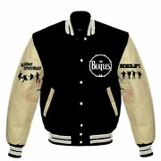 The Beatles Help A Hard Day's Night Varsity Jacket Wool Leather Sleeves
