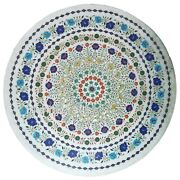 36 Inches Marble Dining Table Top Hand Inlaid Reception Table With Gemstones Art