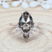 4.21 Ct Salt And Pepper Pear Diamond 14k Solid Gold Wedding Ring Kdl9186