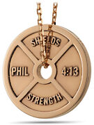 Solid 14k Rose Gold Women's Mini Weight Plate Necklace - Philippians 413